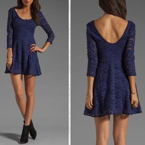 FREE PEOPLE Floral Lace Fit Flare Dress Blue M
